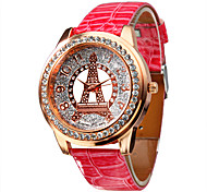 Women's Diamond Tower Pattern Pink PU Band Quartz Analog Wrist Watch Cool Watches Unique Watches