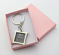 Personalized Engraved Gift Creative Square Photo Frame Keychains (Set of 6)