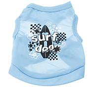 Cães Camiseta Azul Verão Esporte