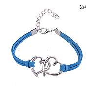 Double Heart Pattern Leather Alloy Charm Bracelet