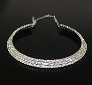 Silver Plated Alloy Three-row Zircon Pattern Necklace