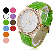 Women's Round Zircon White Dial Quartz Analog Wrist Watch (Assorted Colors)