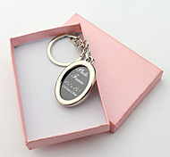 Personalized Engraved Gift Creative Oval Photo Frame Keychains (Set of 6)