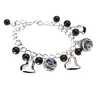Bracelet Charm Bracelet Glass Love Wedding Jewelry Gift Black / White