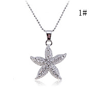 Lureme®Alloy Zircon Starfish Pendant Necklace (Assorted Colors)