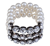 Korean  Fashion  Crystal Pearl Elastic Force Bracelet