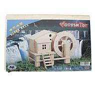 DIY di legno 3D Water Mill House Style Puzzle (3 pezzi)
