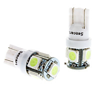 T10 1W 5x5050SMD Ice Blue Light LED Bulb for Car Instrument/License Plate/Turn Signal Lamps (DC 12V, 1-Pair)