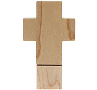 4GB Fashionable Design Wooden Cross Shaped USB Flash Drive (Brown)