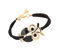 leather Charm Bracelets Alloy Owl Charm Sideways Leather Bracelets With an Adjustable String Bracelet