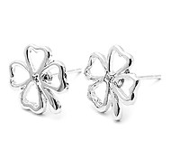 Lucky Four Leaf Clover Silver Earrings(10 pieces/lot)