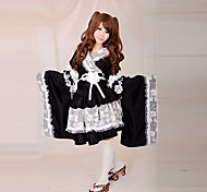 Long Sleeve Knee-length White Lace Black Satin Classic Lolita Kimono Dress