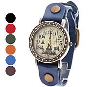 Tour Eiffel style analogique cuir montre bracelet à quartz pour femmes (couleurs assorties)