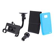 Caja de cuero de la PU, TPU caso suave, Car-Charger, Car-Holder y Cable USB para Samsung Galaxy S2 I9100