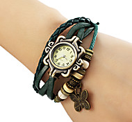 Women's Butterfly Pendant Leather Band Quartz Analog Bracelet Watch (Assorted Colors) Cool Watches Unique Watches