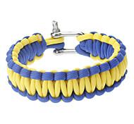 Stilvolle Überleben Glowing-in-the-dark Paracord Armband mit Edelstahl-Wölbung (Blue & Yellow)