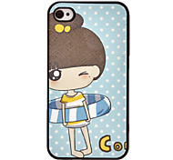 Cartoon bambina in Swim Ring Pattern Hard Case per iPhone4/4S