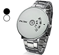 Unisex Round Silver Dial Steel Analog Quartz Wrist Watch (Assorted Colors) Cool Watch Unique Watch