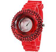 Women's Zircon Silicone Band Analog Quartz Wrist Casual Watch(Red)