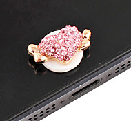 Wing Heart Pattern Zircon Home Button Sticker(Assorted Colors)