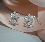 Silver Plated Crown Shape Earring