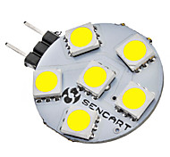 G4 1W 6x5050SMD 70-75LM 6000-6500K Natural White Light LED Spot Bulb (12V)