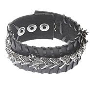 Dragon Punk Black Leather Bracelet