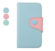 Double Color Inside and Outside PU Leather Full Body Case for iPhone 4/4S(Assorted Color)