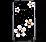 Beautiful Flower Pattern Hard Case with Rhinestone for Samsung Galaxy S2 I9100
