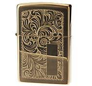 Zippo Flower Pattern Gold Oil Lighter
