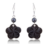 Korean Fashion Black Pearl With Shell Flower Pendent Earrings