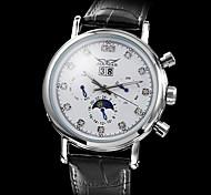 Men's Auto-Mechanical 6 Pointers Calendar Black Leather Band Wrist Watch (Assorted Case Colors)