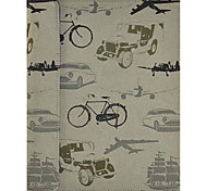 Premium Leather with Canvas Texture Retro Vehicles Pattern Full Body Case with Stand for iPad 2/3/4