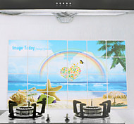 90x60cm Rainbow Pattern Oil-Proof Water-Proof Kitchen Wall Sticker