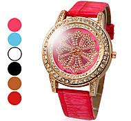 Diamond Dial PU Analógico Quartz relógio de pulso de moda feminina (cores sortidas)