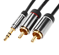 JSJ® 1.8M 5.904FT 3.5mm Male to 2xRCA Male Audio Cable Gold-Plated Black for Monster Beats Sennheiser