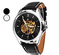 SHENHUA Herren Armbanduhr Automatikaufzug Transparentes Ziffernblatt PU Band Schwarz Braun Weiß Schwarz Schwarz Braun/Weiß