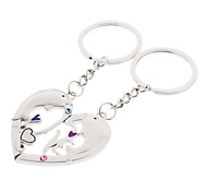 A Pair Heart Shaped Dolphin Style Lover Keychain