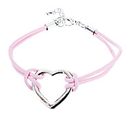 Z&X®  Heart-Shaped Pink Leather Bracelet