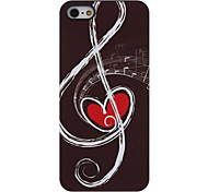 Musical Notes with Red Heart inside Pattern Aluminum Hard Case for iPhone 5/5S
