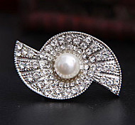 White Double Half-Circle Full-Diamond Brooche