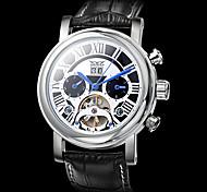 Herren Armbanduhr Automatikaufzug Kalender / Transparentes Ziffernblatt Leder Band Schwarz Marke-