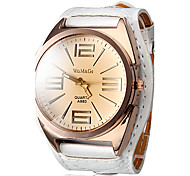 Women's Quartz Analog Big Tawny Dial White PU Band Wrist Watch Cool Watches Unique Watches