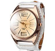 Women's Quartz Analog Big Tawny Dial White PU Band Wrist Watch