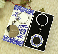 Personalized 6pcs Blue-and-white Octagon Keychain
