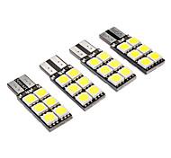 T10 2W 12x5050SMD 140-160LM 6000-6500K luce bianca LED della lampadina per auto (DC 12V, 4-Pack)