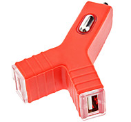 Y shaped Car Charger with Dual USB Ports for iPhone 5 and Others (Optional Colors)