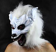 White Horrific Wolf Head Latex Halloween Mask