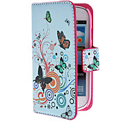 Butterflies and Flowers Pattern PU Leather Case with Magnetic Snap and Card Slot for Samsung Galaxy S3 mini I8190