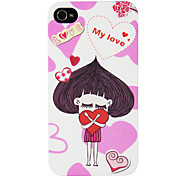 Luxuriöse Swarovski Diamanten besetzte in Love Onion Girl Muster IML Technologie PC Hard Case für iPhone 4/4S